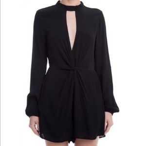 Lush Black Front Twist Romper with pockets - Lucca